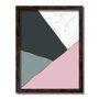 Quadro Decorativo Geométrico Tons De Cinza Com Rosa