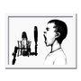 Quadro Decorativo Preto e Branco Menino Gritando ao Microfone