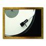 Quadro Decorativo Preto e Branco Toca Discos de Vinil Vintage
