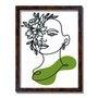 Quadro Decorativo Silhueta Rosto Com Flores Verdes